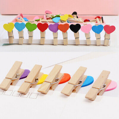 50Pcs Love Heart Pegs Wooden Clothespin Wedding Photo Small Clips Decor Supply