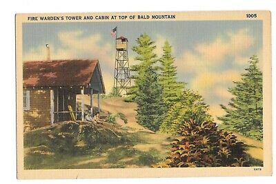 Vintage Postcard Fire Warden's Tower and Cabin at Top of Bald Mountain NY Linen