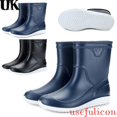 Men's CALF HIGH Wellingtons Wellies Ankle Rain Mucker Boots Waterproof PVC Shoes