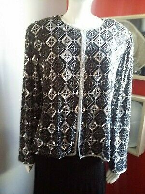Papell Boutique Evening Black & Silver Sequin Beaded Silk Jacket
