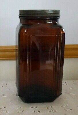 VINTAGE COLLECTIBLE AMBER SQUARE GLASS JAR CANISTER CONTAINER with ORIGINAL LID