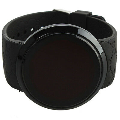 New Cool Waterproof Mens Watch LED Touch Screen Date Silicone Wrist Black Watch