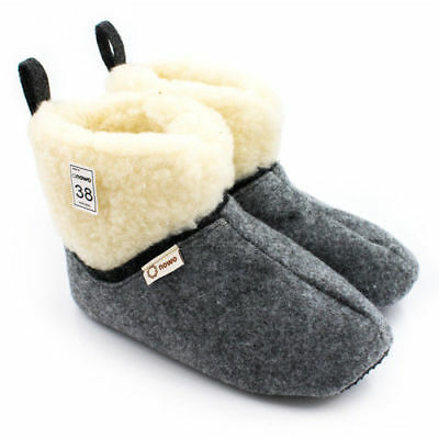 Felt Women's Slippers Boots Booties with Warm Sheep Wool US 5-9, EUR 36 - 41