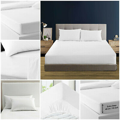 Luxury Egyptian Cotton Deep Fitted Sheet Single Double King With Pillow cases