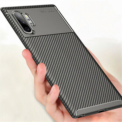 For Samsung Galaxy Note 10 Plus S10 S20+ Carbon Fiber Hybrid Soft TPU Case Cover