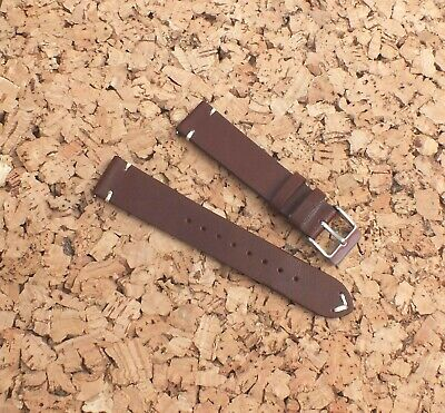 Genuine Horween Leather Watch Strap 18mm Coffee Brown by Geckota