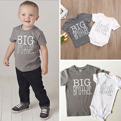 US Toddler Baby Little Sister Romper Bodysuit Big Brother T-Shirt Summer Clothes