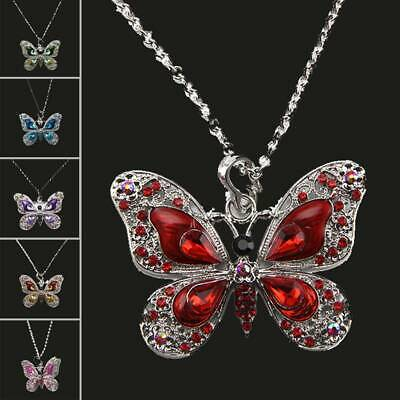 Fashion Womens Crystal Enamel Butterfly Animals Pendant Necklace Chain Jewellery