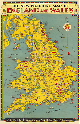 Pictorial map of England and Wales 1935 Antique Old Map (Extreme Definition PDF)