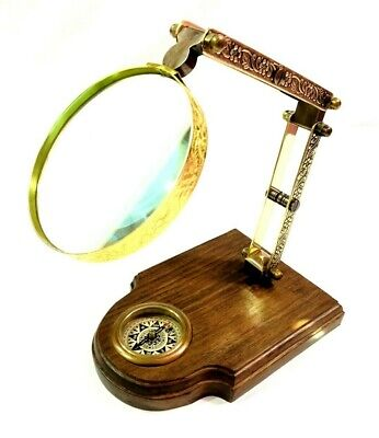 Maritime Brass Magnifying Glass on Wooden Base with Compass Nautical Decor Item