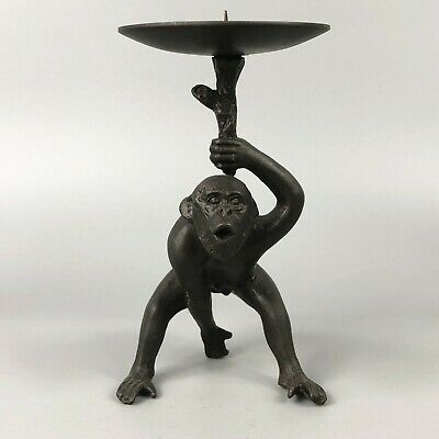 Exquisite Collectible Old Copper Handwork Monkey King Chinese Candlestick Statue