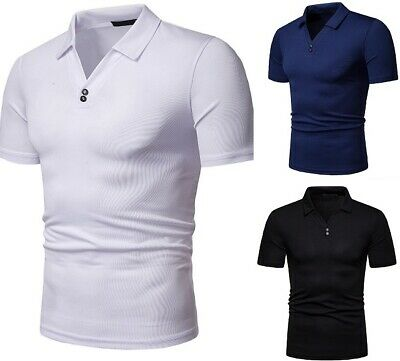 A new summer men's v-neck POLOT shirt with loose euro size and short sleeves