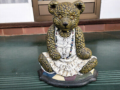Vintage Cast Iron/Metal Lady Teddy Bear Door Stop, deco, colourful, large