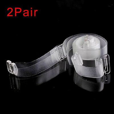 2 Pair Adjustable Detachable Transparent Clear Invisible Bra Straps Metal Hook