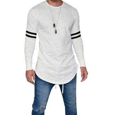 Men's T-Shirt Basic Long Sleeve Blouse Tops Crew Neck Slim Fit Muscle Clothing