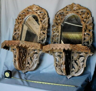 Antique pair folding shelf carved tombstone mirrors mahogany ca 1925 reticulated