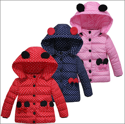 Winter Coat Baby Girls Jacket Kids Winter Warm Outerwear Children Hooded Coat