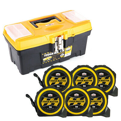 Tool Box Tough Master 16 inch/41cm With Pocket Tape Measures 5M/16ft Pack of 6