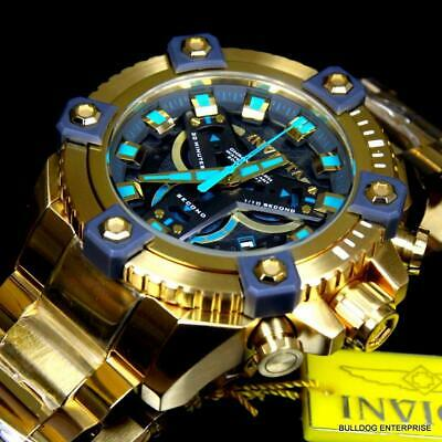 Invicta Grand Octane Coalition Forces 63mm Gold Plated Blue Swiss Mvt Watch New