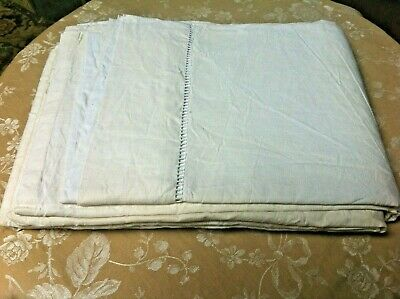 Vintage French Linen & Cotton Sheet Double Ladder Edge / Upholstery 3metre x 2m