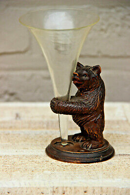 Antique hand Black forest wood carved swiss bear statue glass figurine