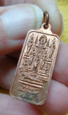 Old  Thai Copper Buddha  Amulet  Charm Pendant