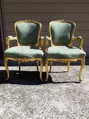 Antique Gilt Ornate Mahogany French Louis Fauteuil Style Carved Armchair.1 Of 2