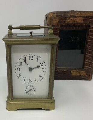 Antique French Brass Repeater Carriage Clock with Alarm