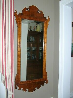 Antique  18Th/19Th Century Large Tiger Maple  American Mirror