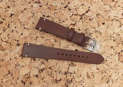 Genuine Leather Vintage Watch Strap 20mm Coffee Brown by Geckota