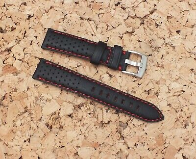 Genuine Leather Padded Vented Watch Strap / 20mm Red Back by Geckota