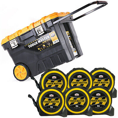 Tool Chest Tough Master 28 inch/72cm With Pocket Tape Measures 8M/26ft Pack of 6