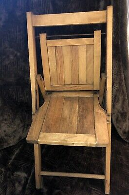 Vintage Wood Slat Seat Child Folding Chair