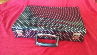 Vintage Retro 1980s Audio Tape Cassette Carry Case Storage Box-Black/Red Striped