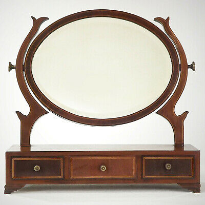 Antique Toilet Mirror (Free delivery) 19thC Mahogany