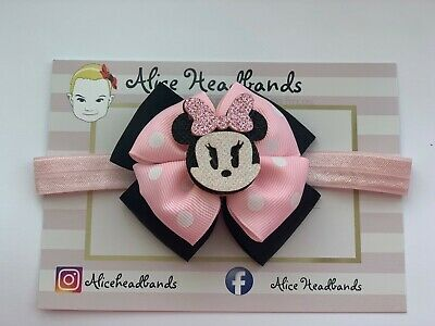 Disney Minnie Mouse Baby Headband Girls Disney Bow Elastic Red Or Pink Or Clip