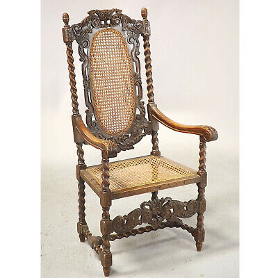 Antique Carved Oak Open Armchair (delivery available) Barley Twist Carolean