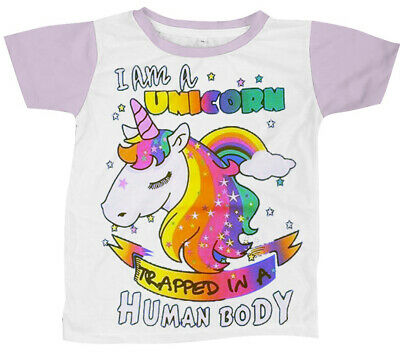 I am a Unicorn Trapped in a Human Body Rainbow Tshirt Top Size M-4XL UK 8-24 A80