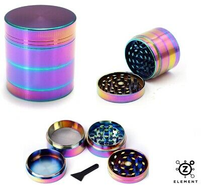 50mm Rainbow Metal Aluminium Hand Grinder 4 Part Tobacco Herb Crusher Muller EU