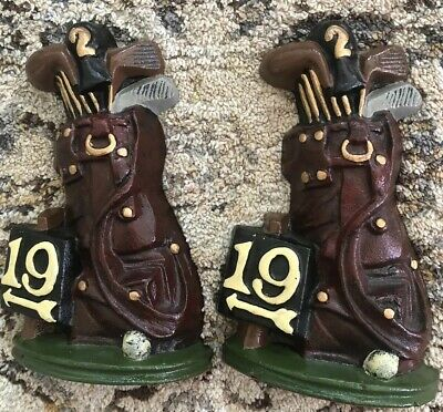 """Lot Of 2 Vintage Cast Iron 19th Hole Golf Bag Book Ends - 7 1/2"""" x 5"""" x 1 3/4"""""""