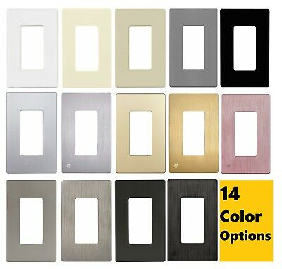 ENERLITES Screwless Decorator Switch or Outlet Wall Plate 1-Gang - 14 Colors