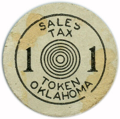 Oklahoma Sales Tax Old Age Assistance 1¢ White Cardboard Error Token