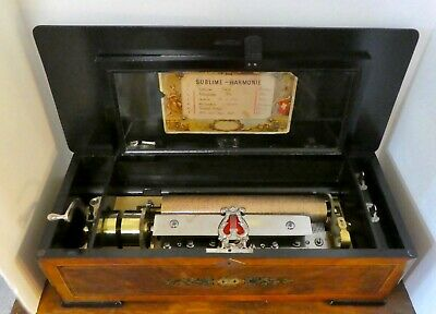 Antique Swiss SUBLIME-HARMONY CYLINDER MUSIC BOX. Paper w/ 6 Airs. Tested+ Works