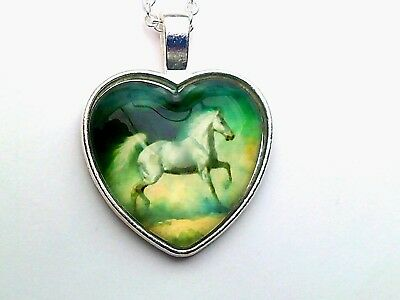 White Horse Heart Pendant, Glass Photo Cabochon Necklace Horse Lovers