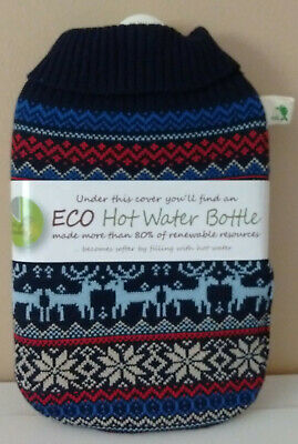 Hugo Frosch Eco Hot Water Bottle Knitted Nordic Cover  2 Litre  80% Bio Based