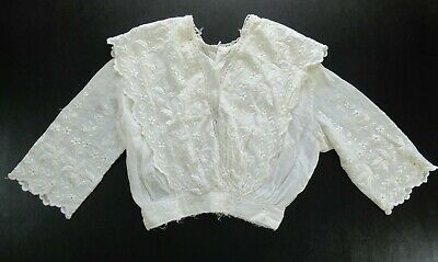 1910s Edwardian Mesh Lace Embroidered Antique Cotton Womens Blouse