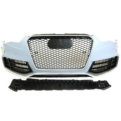 RS4 STYLE FRONT Bumper + Gloss Black Grill + Glass Fog Fit