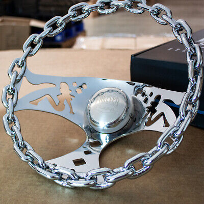 "11"" Polished Chain Steering Wheel Bettie Spoke with Engraved Horn Button-3 Hole"