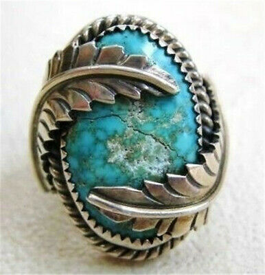 925 Silver Huge Round Vintage Turquoise Ring Fashion Wedding Jewelry Size 6-10