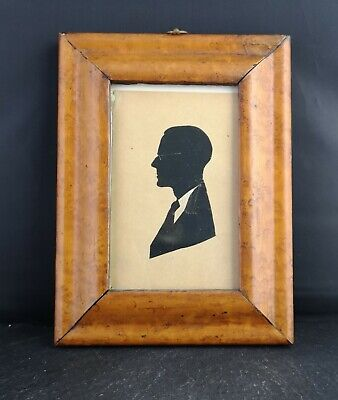 Antique Birds eye Maple frame and silhouette, portrait miniature